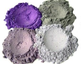 4pc PURPLES Mineral Eyeshadow Mineral Makeup Quad Set