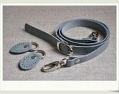Adjustable leather shoulder handles, 120cm with 2pcs D ring leather tabs, dusty blue