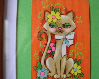 Vintage Cat with Flowers and Bow playing card, Framed in an upcycled frame.
