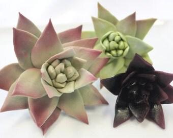 Edible Fondant Sugar Flower SUCCULENTS - 1 qty large, 1 qty medium, 1 small for wedding cake, modern wedding