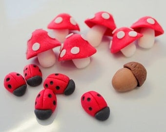 Fondant Edible 20 sm. lady bugs only for woodland party, woodland birthday, garden party,