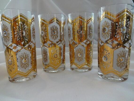 Mad Men Era Gold and White High Ball Glasses