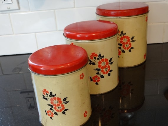 Hall Red Poppy Metal Canister Set 3 Piece Decoware
