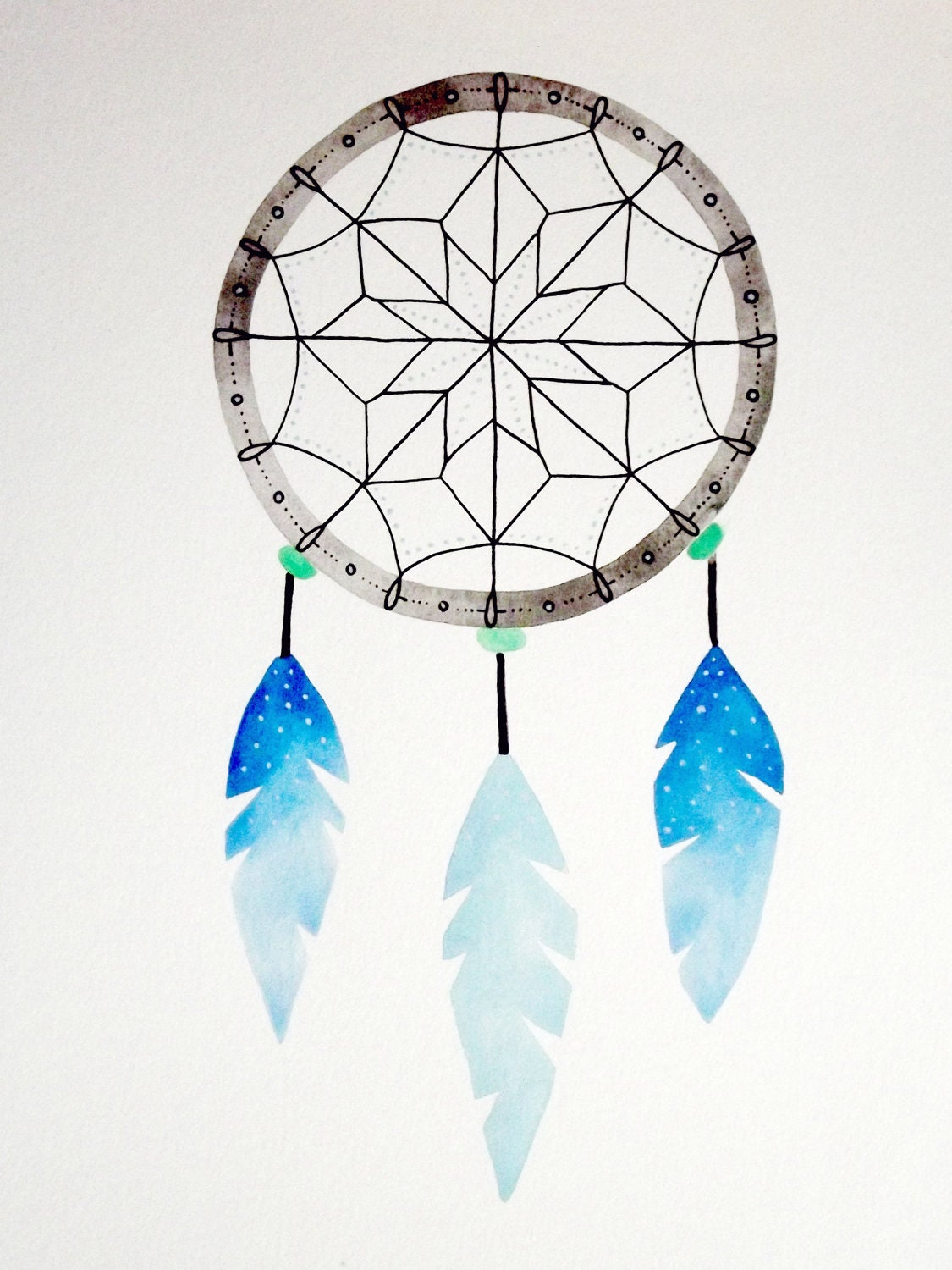 Dreamcatcher Original Watercolor by GeometricInk on Etsy
