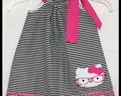 NEW  Stylish Hello Kitty Wearing Glasses Applique dress So CUTE