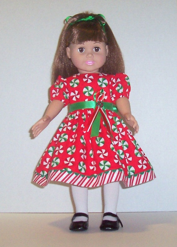 18 inch doll clothes christmas dress red peppermint candy