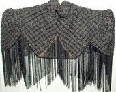 Victorian Antique Black Silk Jet Beaded Corsage Garniture