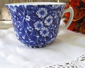 Vintage Blue Chintz Cup, Blue and White Vintage Tea Cup, Vintage Teacup Made In England
