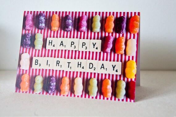 Items Similar To Jelly Babies Happy Birthday Card On Etsy