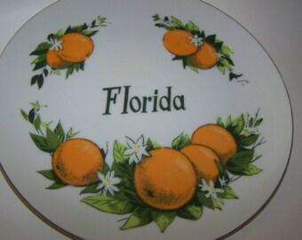 Vintage Florida Souvenir Plate Florida Oranges Florida State Plate