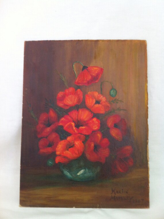 Vintage painting of poppies on canvas signed Marion Madeley 1967 wall decor