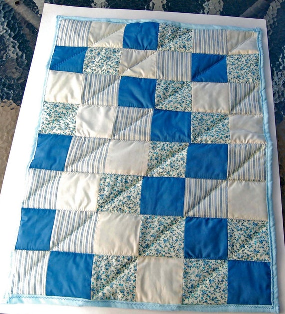 Blue and cream vintage style baby quilt