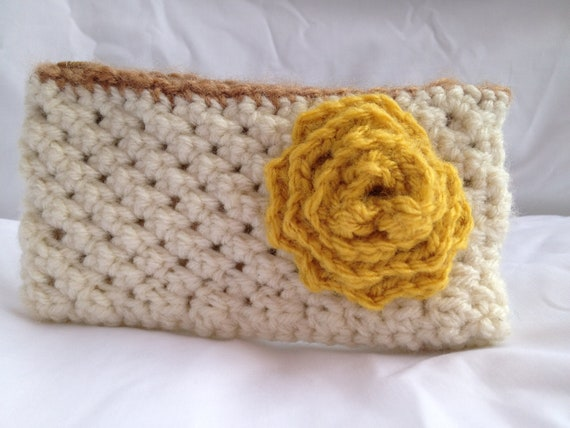 Ivory with Mustard Yellow Flower Crochet Pouch or Coin Purse