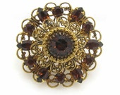 Baroque Style Brooch With Brown Rhinestones