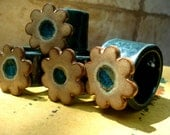 Reserved for Barbara:Ceramic Flower Napkin Rings in Sand and Green with melted glass