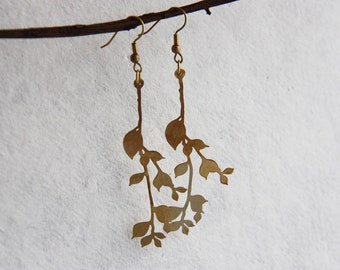 Golden Branches and leafs Earrings
