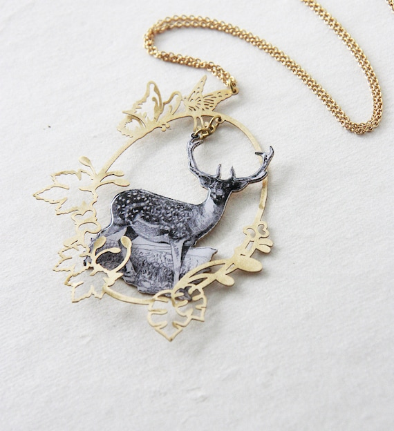 Deer in Golden Oval Woodland Necklace