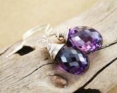 Purple Zircon Sterling Silver Earrings, Grape Earrings, High Fashion , Dark Orchid ,Blue Violet ,