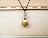 Vintage Tiny Brass Locket  Vintage Faux Grey Pearl Brass Chain Necklace