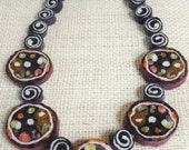Multi Color Felt Bead Necklace with Spots and Spirals