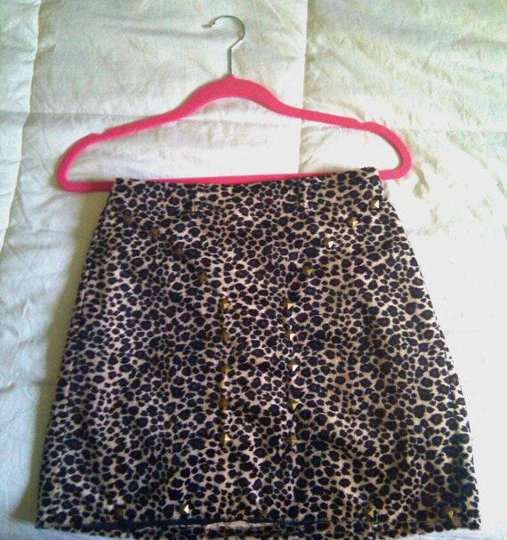 Gold Studded Velvet Lined Leopard High Waisted Skirt