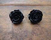 Shiny Black Dahlia Earrings - Stud Earrings - Simple Dangle Resin Cabochon Rose Tulip Earrings
