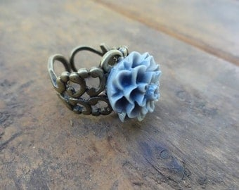 Gray Antique Bronze Ring - Adjustable Finger ring - Womens Jewelry