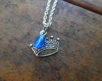 Crown Necklace with Dark Blue Accent
