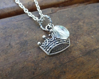 Crown Necklace with Clear Accent