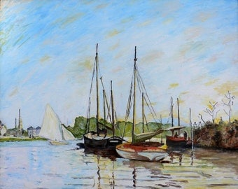 Replica of Monet's Pleasure Boats, Argenteuil - 100% hand painted oil on canvas