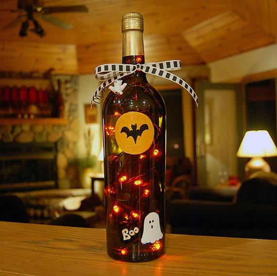 Wine bottle light, Halloween, ghost, bat