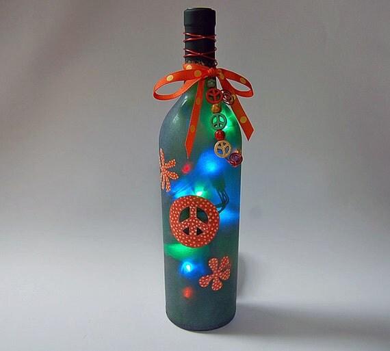 Wine bottle light, orange and green, peace sign, retro decor