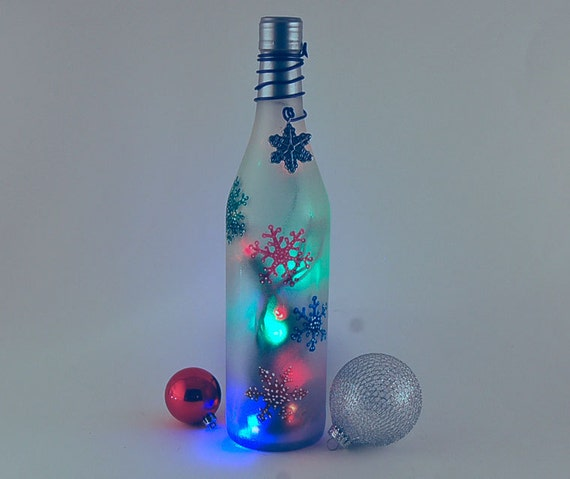 wine bottle light, snowflakes, Christmas decoration