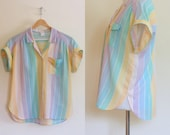 Vintage 1980's pastel pocket top / Cotton Candy striped collar camp shirt