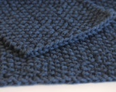 hand knit dark denim blue washcloth and scrubbie set
