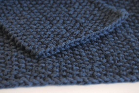 hand knit dark denim blue washcloth and scrubbie set