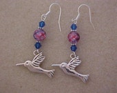 Hummingbird Charm Earrings with Pink-Blue Plaid Crackle Beads