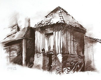nature house drawing A3 Nature Old cottage in brown Dark sanguine charcoal Medium size Wall decor