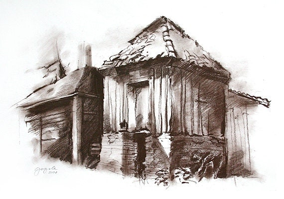 Architecture Art House Drawing Nature Old Cottage In Brown
