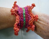 handmade crochet pink,red,green,orange cuff bracelet