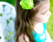 Flower Hair Clip - Green Sheer