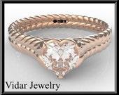 Engagement Ring,Moissanite Engagement Ring,Solitaire Engagement,Rose Gold engagement Ring,Unique Engagement ring,Heart Engagement Ring