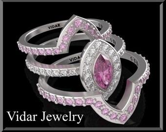 Pink Sapphire And Diamond Wedding Ring Set.Engagement Ring set. Bridal Wedding Band.14k White Gold,halo,unique.