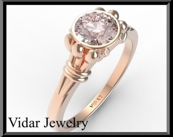 Unique Engagement Ring,Pink Morganite Engagement Ring,Unique Engagement Ring,Solitaire Engagement Ring.Rose gold,custom.Clasic.Rose Gold.