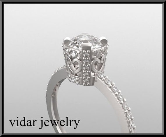 Engagement Ring,Unique Engagement Ring,Royal Engagement Ring,14K Diamond Engagement Bridal Wedding Queen  Ring.