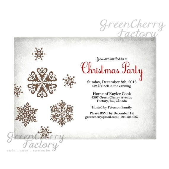 Items similar to White Christmas Party Invitation ...