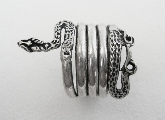 Vintage Sterling Silver Coiled Snake Ring Size 7