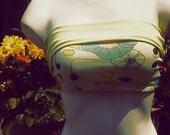 Yogatube Bikram Yoga Yellow Green Flower Bandeau Twist Tube Top LARGE