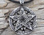 Pewter Double Pentagram Celtic Pagan Pentacle Pendant with Swarovski Black Onyx Crystal (56I)
