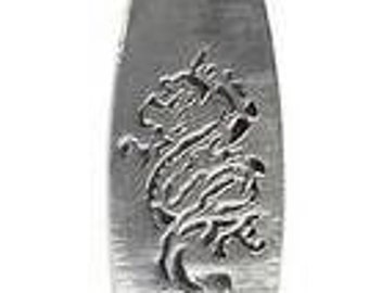 Pewter Surfboard Dragon Surfer Silver Pendant on Leather Necklace (32I)